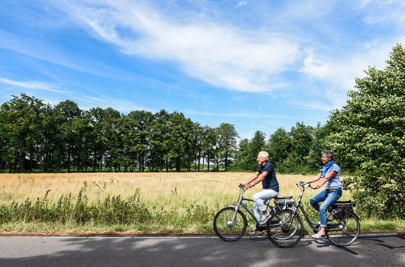 fietsen stel man vrouw zon zomer veld gras bos