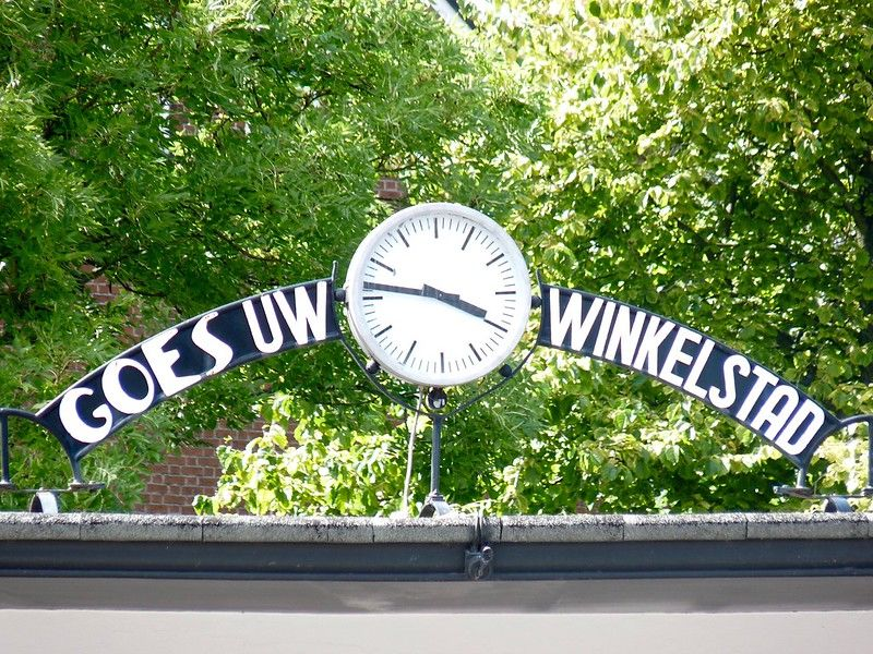 Welcome in Goes, Shopping Centre of Zeeland. Clock Sign in Goes, the Netherlands
