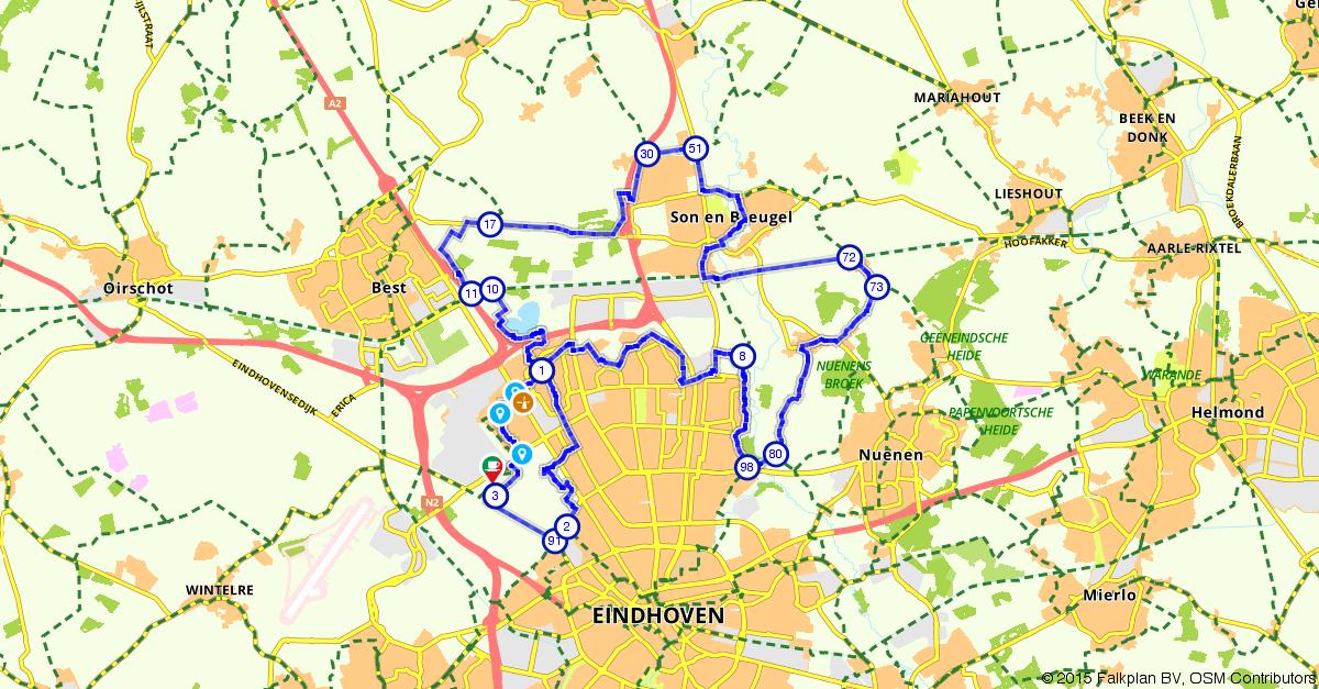 Ervaringen Tulp Keukens Eindhoven : Fietsroute (E bike) 124244 Eindhoven, Son en Best