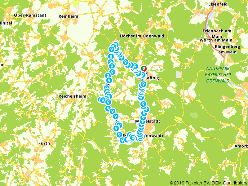 Fietsroute Hohe Strasse - Via Odenwaldberge en door het Mümlingtal