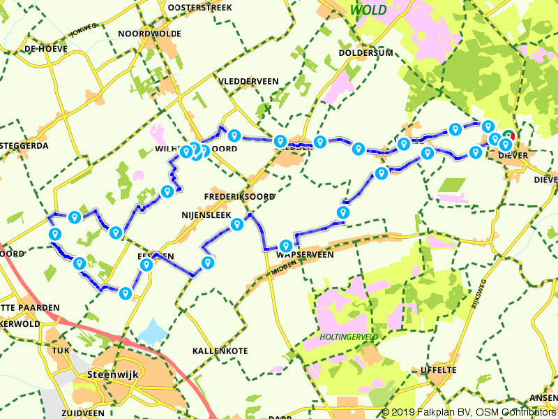 Drentse Fiets4Daagse - Fietsroute 40 km