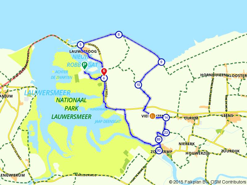 Marneroute bij Nationaal Park Lauwersmeer