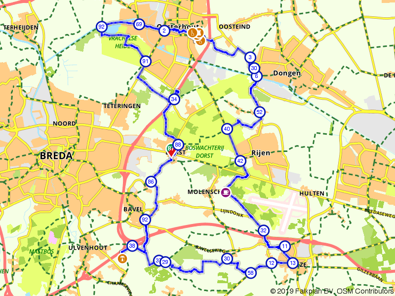 Dorst, Rijen door Oosterhout