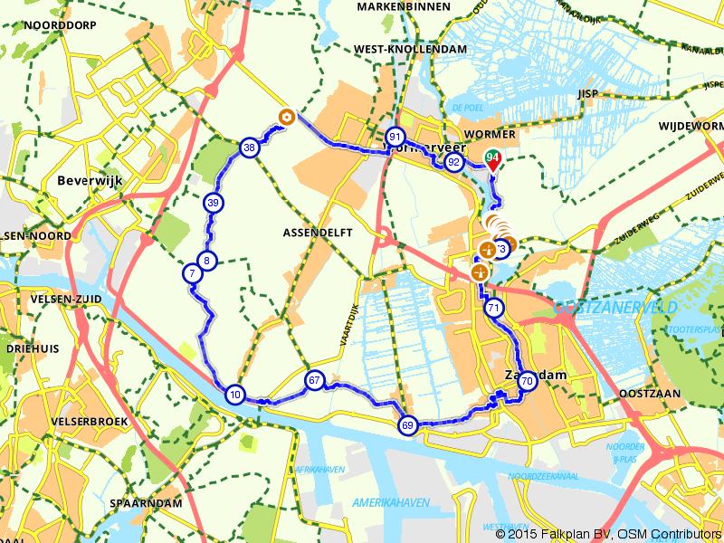 Wormer, Zaandam en Krommenie door Zaanse Schans