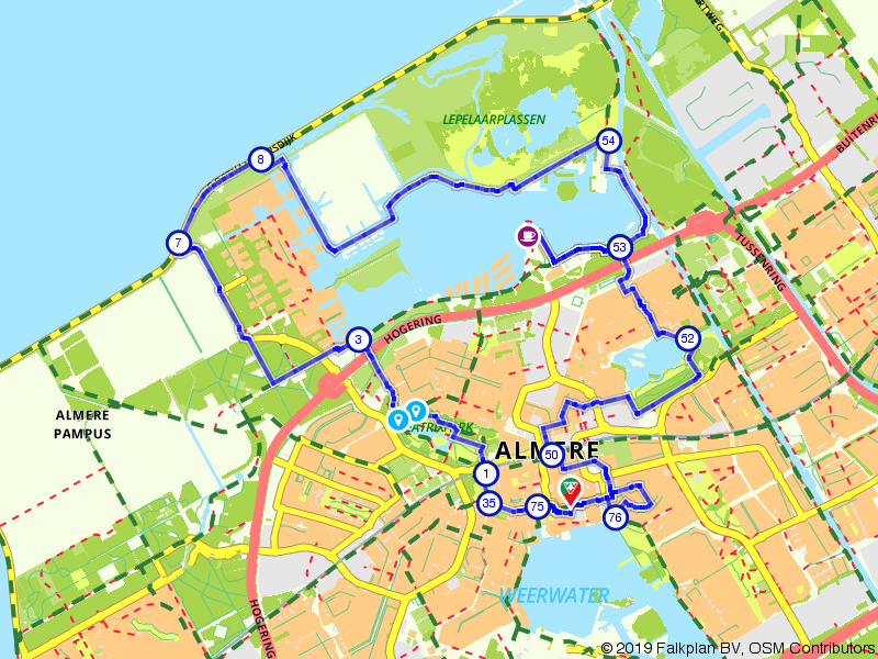 24 uur in Almere fietsroute
