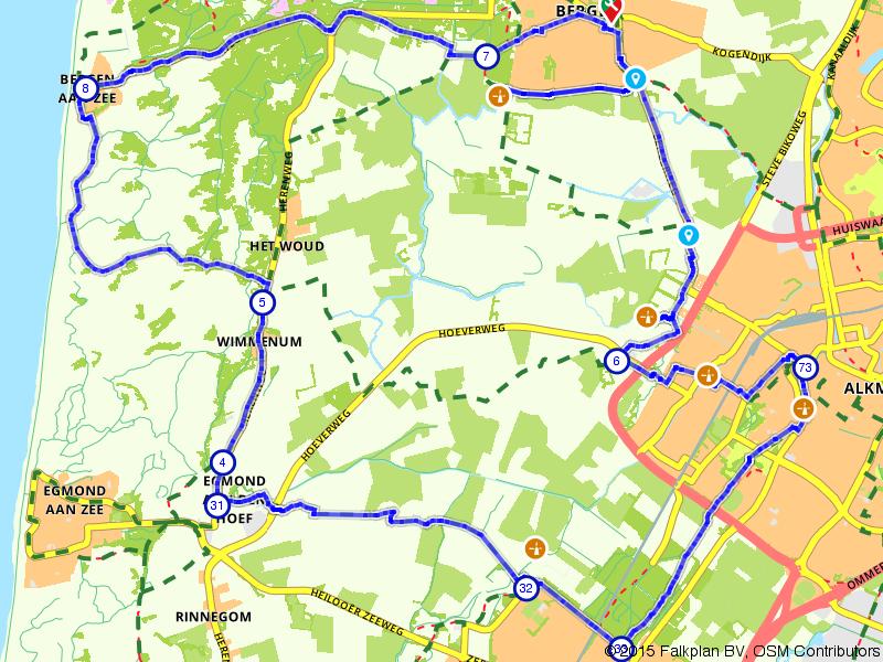 Bergen, Egmond aan de Hoef en Alkmaar
