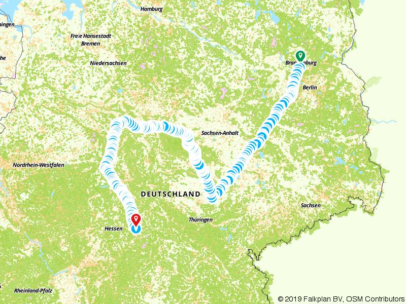 Route van Oranienburg naar Fulda