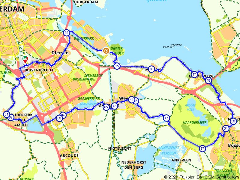 Fietsroute door de natuur rondom Amsterdam
