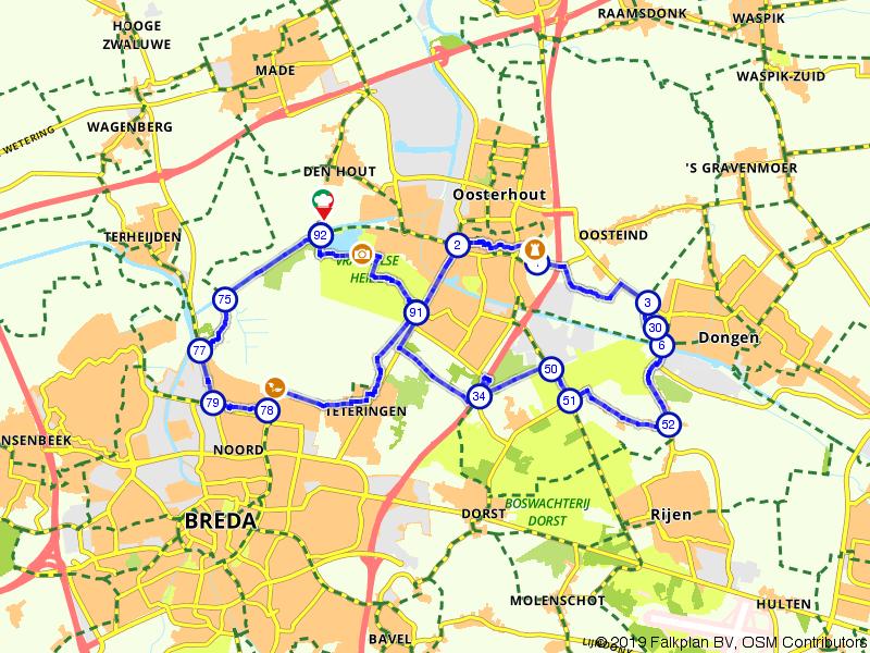 Rondje fietsen door Oosterhout en Den Hout