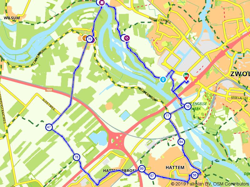 Fietsen langs de IJssel bij Zwolle