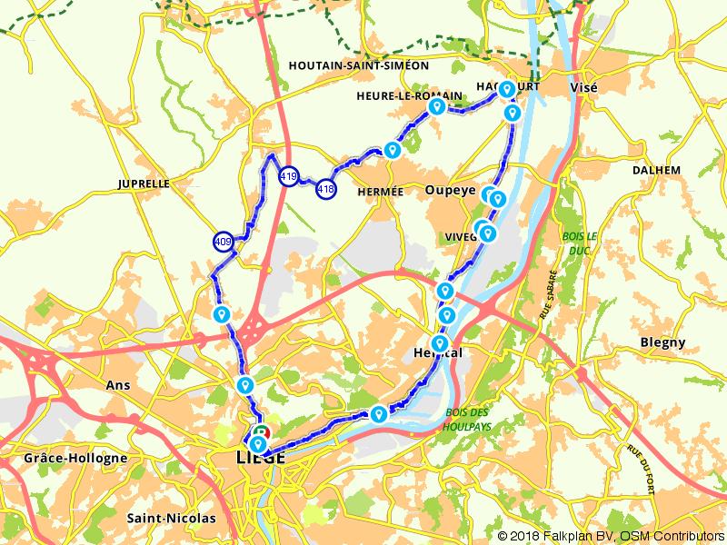 Van Luik naar Haccourt en Herstal fietsen