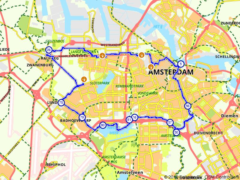 Molenroute door hartje Amsterdam