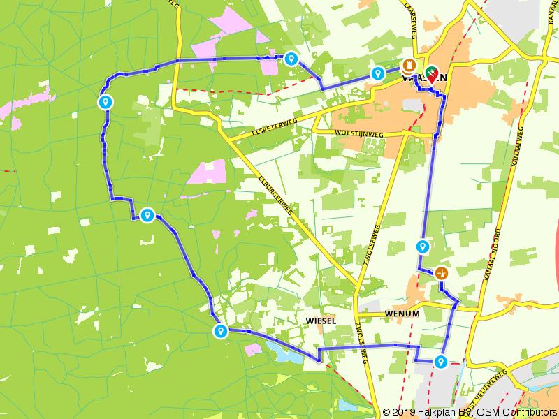 Door de bossen en het centrum van Vaassen