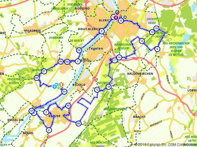 Fietsen langs beide oevers van de Maas tussen Venlo en Kessel