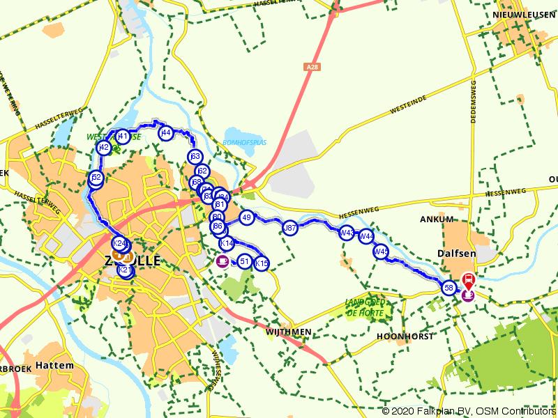 Blauwnet fietsroute Zwolle-Dalfsen