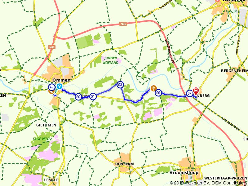 Blauwnet fietsroute Ommen-Mariënberg