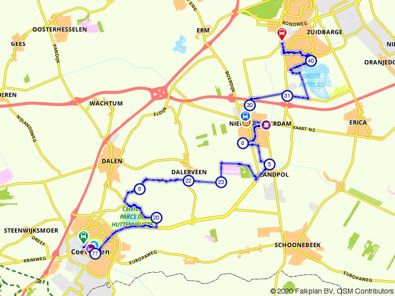 Blauwnet fietsroute Coevorden-Nieuw-Amsterdam-Emmen