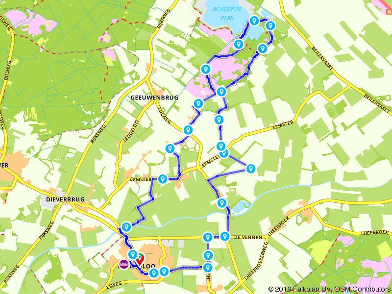 De Ster van Dwingeloo route Blauwe meer