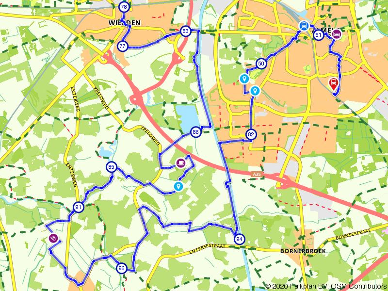 Blauwnet fietsroute Wierden-Almelo-Almelo de Riet