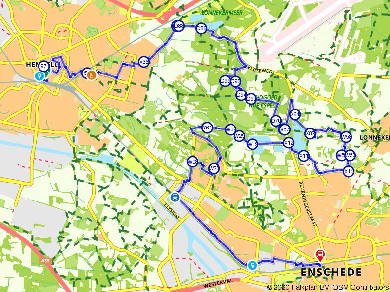 Blauwnet fietsroute Hengelo-Enschede
