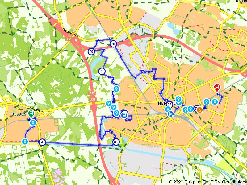 Blauwnet fietsroute Delden-Hengelo Gezondheidspark-Hengelo-Hengelo Oost