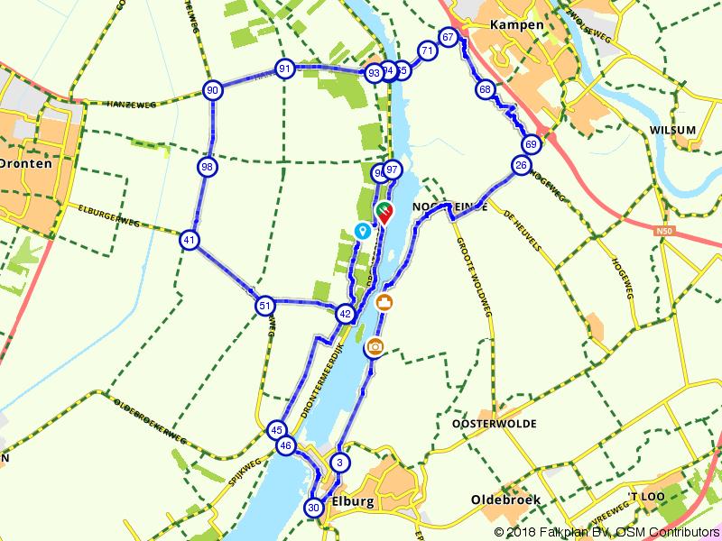 Fietsroute rondom het Drontermeer