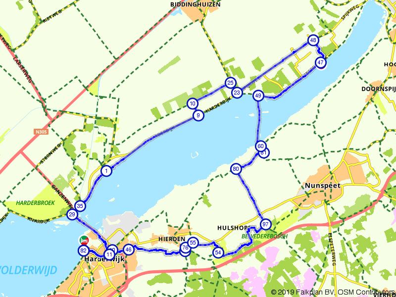 Vanuit Harderwijk langs het Veluwemeer